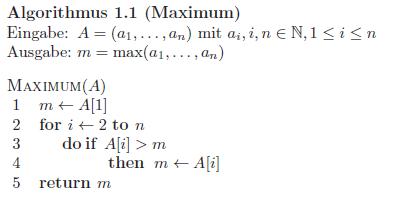 Pseudocode Maximum Algo